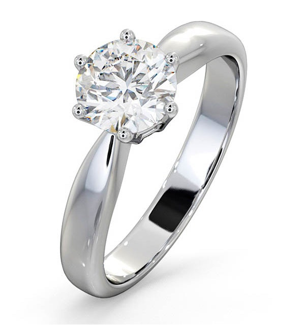 1 Carat Diamond Engagement Ring High Set Chloe Lab H/SI1 Platinum - image 1