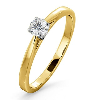 Engagement Ring Certified Petra 18K Gold Diamond  0.25CT-F-G/VS