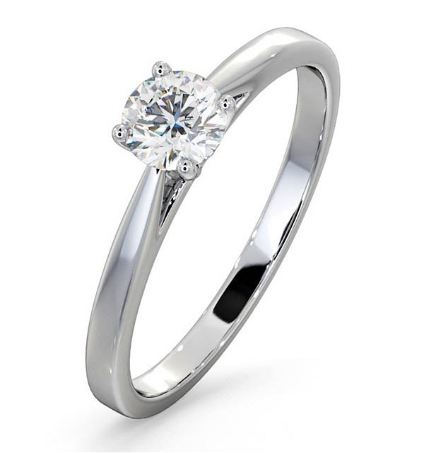 Half Carat Diamond Engagement Ring Petra Lab F/VS1 18K White Gold - image 1