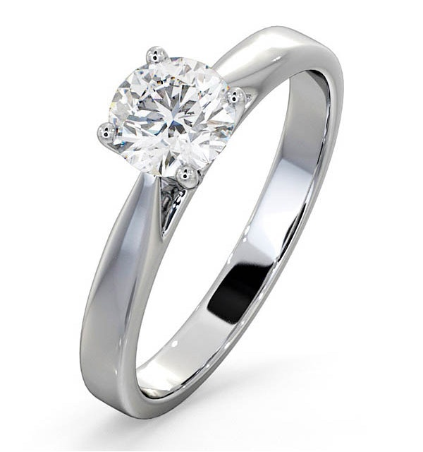 Engagement Ring Certified 0.90CT Petra 18K White Gold E/VS1 - image 1