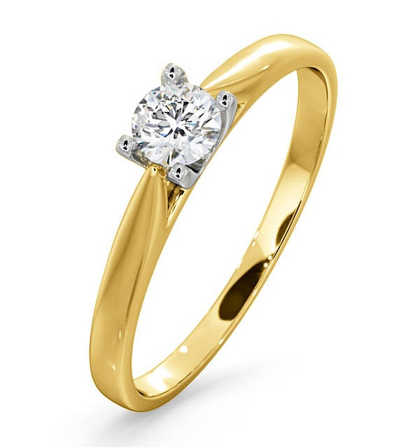 Certified Grace 18K Gold Diamond Engagement Ring 0.25CT - image 1