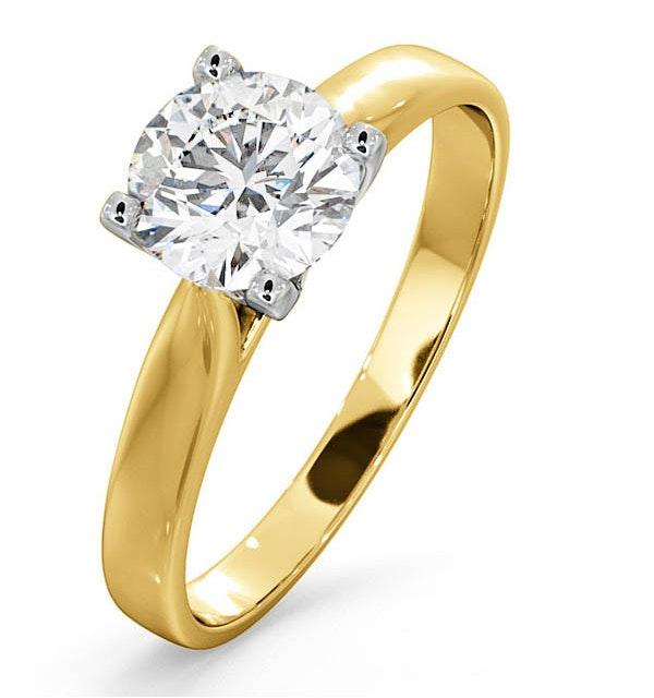 Certified 1.00CT Grace 18K Gold Engagement Ring E/VS2 - image 1