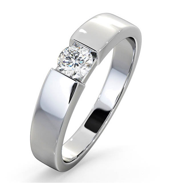Certified Jessica 18K White Gold Diamond Engagement Ring 0.33CT - image 1