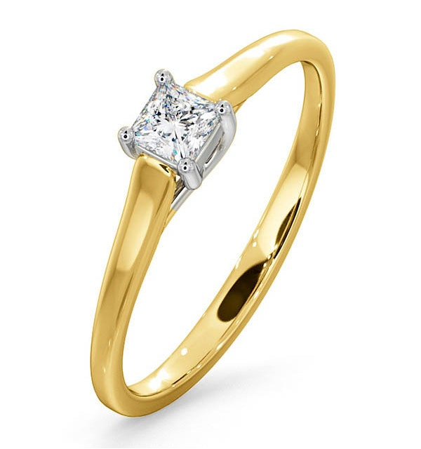 Certified Lucy 18K Gold Diamond Engagement Ring 0.25CT-F-G/VS - image 1