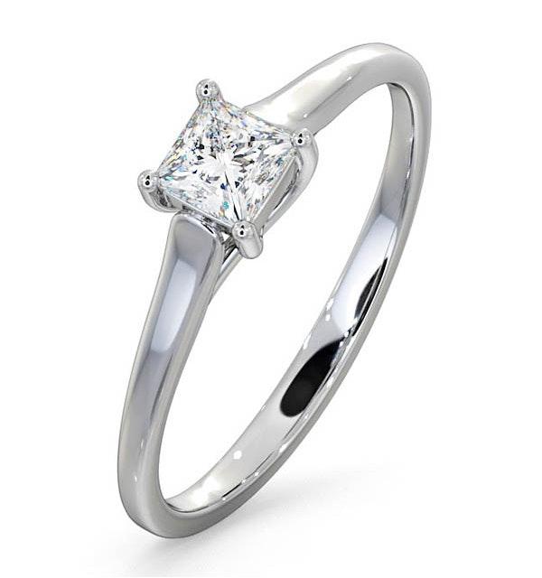 Certified Lucy 18K White Gold Diamond Engagement Ring 0.33CT-G-H/SI - image 1
