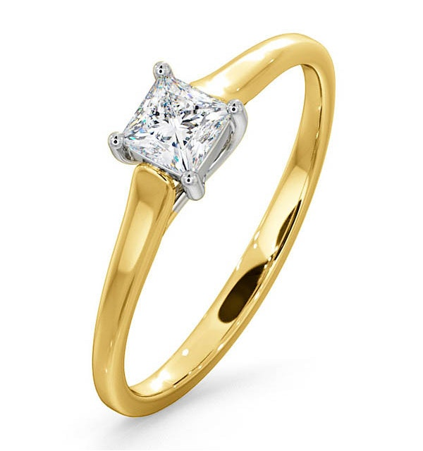 Certified Lucy 18K Gold Diamond Engagement Ring 0.33CT-F-G/VS - image 1
