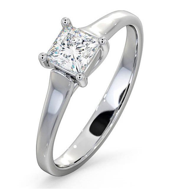 Certified Lucy 18K White Gold Diamond Engagement Ring 0.50CT-F-G/VS - image 1