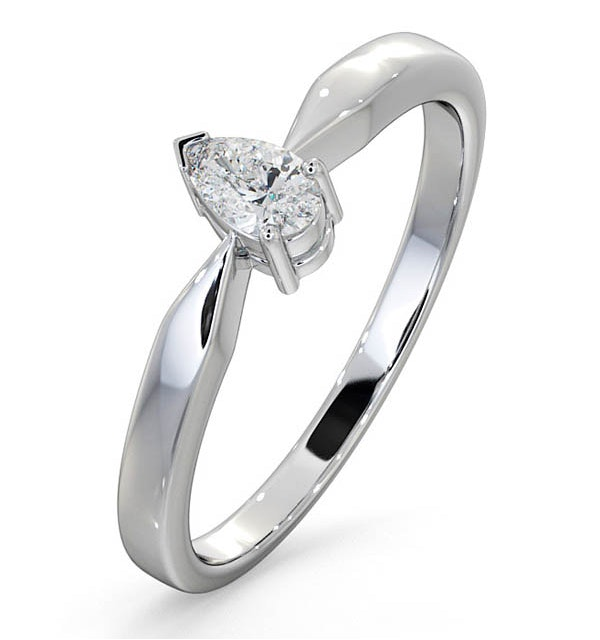 Engagement Ring Certified Pear Shaped Diamond 0.25CT H/SI 18K Gold - image 1