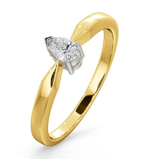 Certified Pear Shaped 18K Gold Diamond Engagement Ring 0.25CT-G/Vs