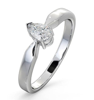 Engagement Ring Certified Pear Diamond 0.33CT H/SI 18K White Gold