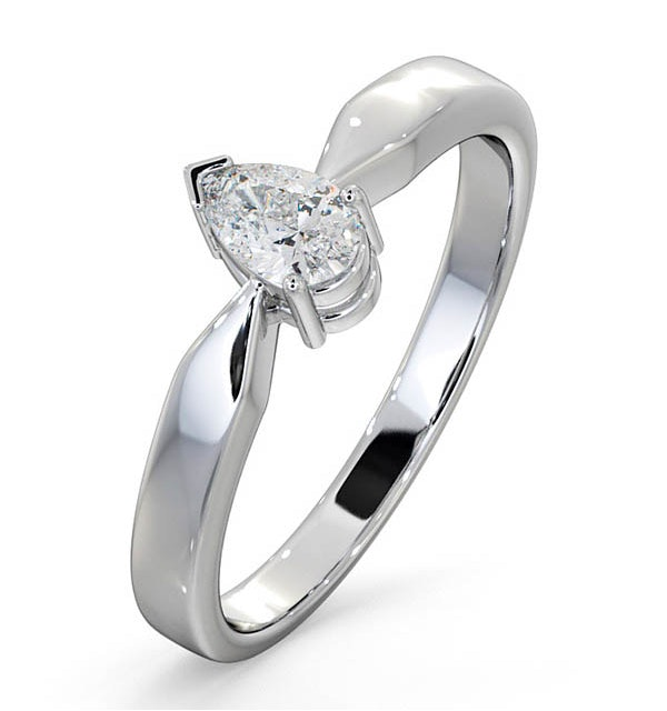 Certified Pear Shaped Platinum Diamond Engagement Ring 0.33CT-H/Si - image 1