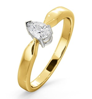 Certified Pear Shaped 18K Gold Diamond Engagement Ring 0.33CT-H/Si