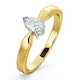Certified Pear Shaped 18K Gold Diamond Engagement Ring 0.33CT-H/Si - image 1