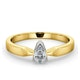 Certified Pear Shaped 18K Gold Diamond Engagement Ring 0.33CT-H/Si - image 3