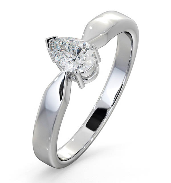 Engagement Ring Certified Pear Shaped 18K White Gold Diamond 0.50CT SI - image 1