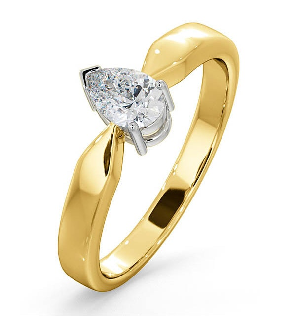 Certified Pear Shaped 18K Gold Diamond Engagement Ring 0.50CT-H/Si - image 1