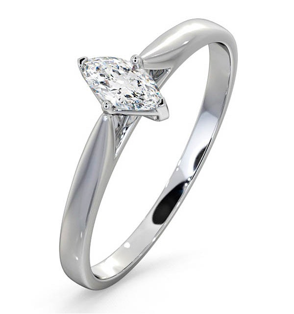 Engagement Ring Certified Marquise Diamond 0.25CT H/SI 18K White Gold - image 1