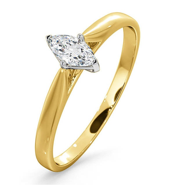 Certified Marquise 18K Gold Diamond Engagement Ring 0.25CT-G-H/SI - image 1