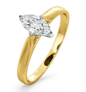 Certified Marquise 18K Gold Diamond Engagement Ring 0.50CT-G-H/SI