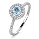 Halo Aquamarine 0.50CT And Diamond 18K White Gold Ring - image 1