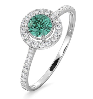 Halo  Emerald 0.50ct And Diamond 18K White Gold Ring