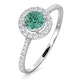 Halo  Emerald 0.50ct And Diamond 18K White Gold Ring - image 1