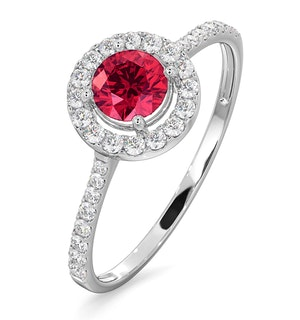Halo Ruby 0.65ct And Diamond 18K White Gold Ring