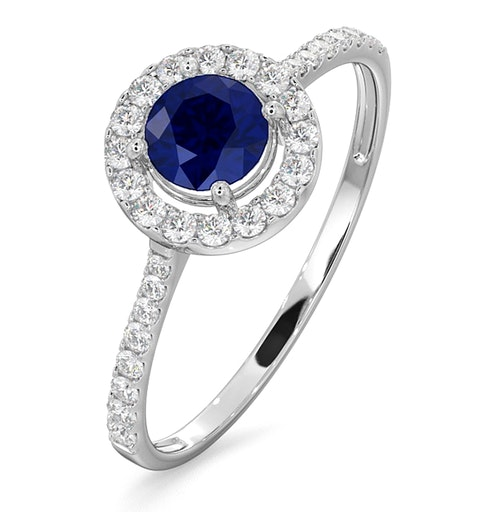 Halo Sapphire 0.75ct And Diamond 0.36ct 18K White Gold Ring - image 1
