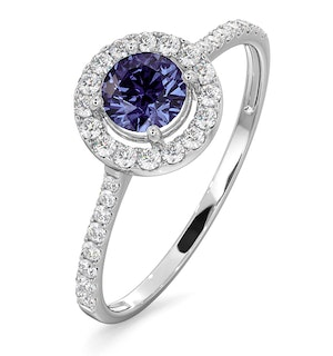 Halo Tanzanite 8.7mm And 0.36ct Diamond 18K White Gold Ring
