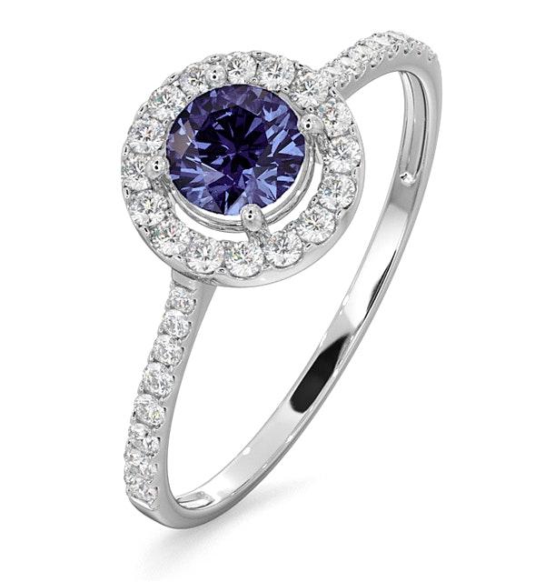 Halo Tanzanite 8.7mm And 0.36ct Diamond 18K White Gold Ring - image 1