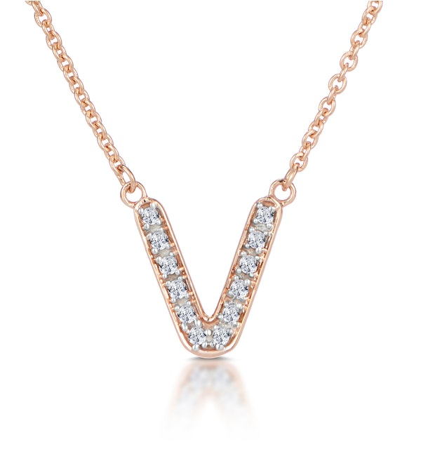 Initial 'V' Necklace Diamond Encrusted Pave Set in 9K Rose Gold - image 1