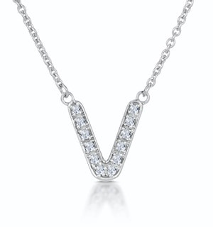 Initial 'V' Necklace Diamond Encrusted Pave Set in 9K White Gold
