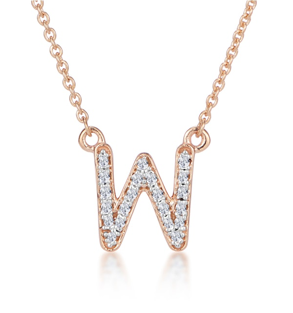 Initial 'W' Necklace Diamond Encrusted Pave Set in 9K Rose Gold - image 1