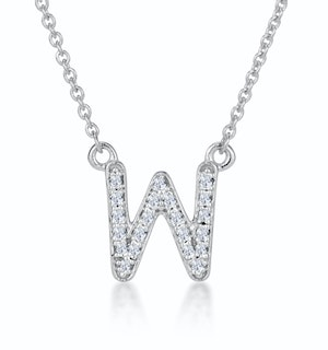 Initial 'W' Necklace Diamond Encrusted Pave Set in 9K White Gold