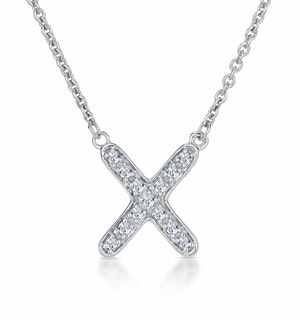Initial 'X' Necklace Diamond Encrusted Pave Set in 9K White Gold