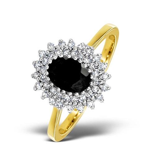 Sapphire 7 x 5mm And Diamond 18K Gold Ring  FET35-U - image 1