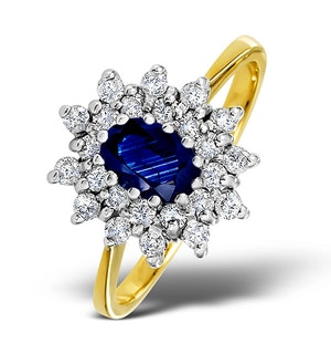 Sapphire 6 x 4mm And Diamond 9K Gold Ring  A3245