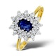 Sapphire 6 x 4mm And Diamond 9K Gold Ring  A3245 - image 1
