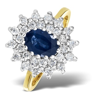 Sapphire 7 x 5mm And Diamond 9K Gold Ring  A3246