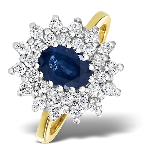 Sapphire 7 x 5mm And Diamond 0.56ct 18K Gold Ring - image 1