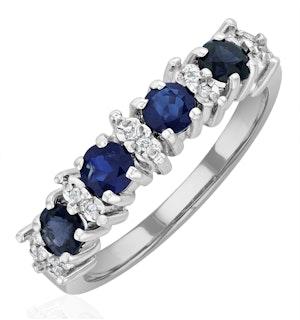 Sapphire 0.85ct And Diamond 9K White Gold Ring