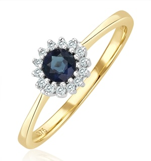 Sapphire 3 x 3mm And Diamond 9K Gold Ring