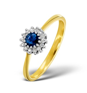 Sapphire 3 x 3mm And Diamond 18K Gold Ring