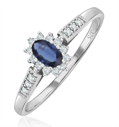 Sapphire 5 x 3mm And Diamond 18K White Gold Ring - image 1