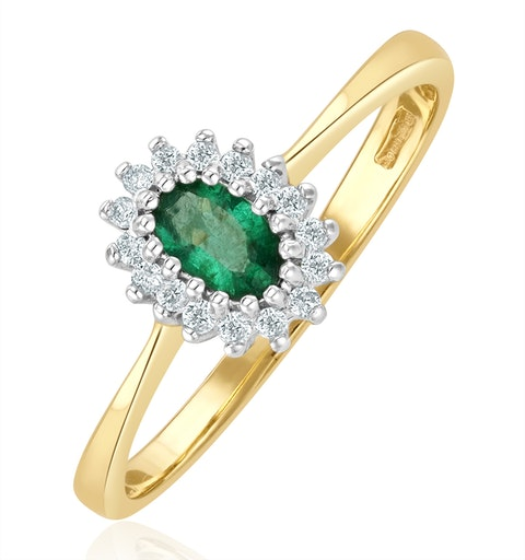 Emerald 5 x 3mm And Diamond 9K Gold Ring - image 1