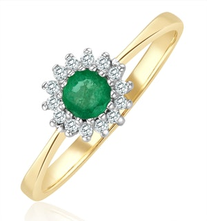 Emerald 3.5mm And Diamond 9K Gold Ring