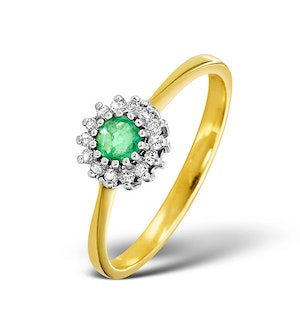 Emerald 3.5 x 3.5mm And Diamond 18K Gold Ring