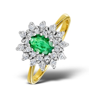 Emerald 6 x 4mm And Diamond 9K Gold Ring  A3216
