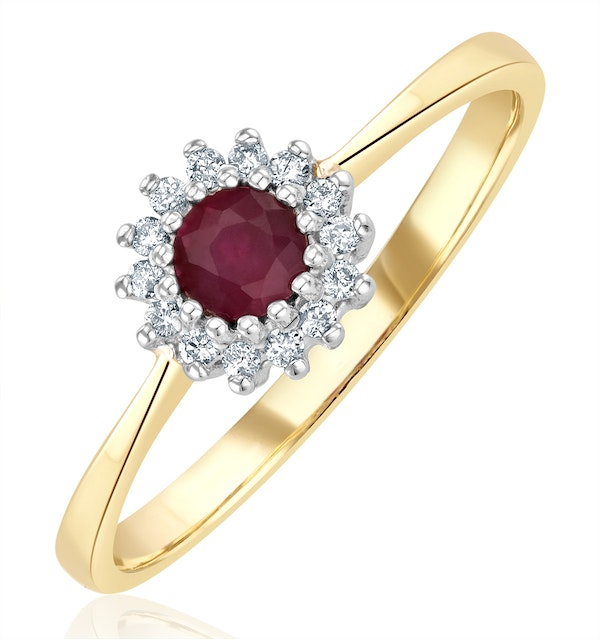 Ruby 3.5 x 3.5mm And Diamond 18K Gold Ring - image 1
