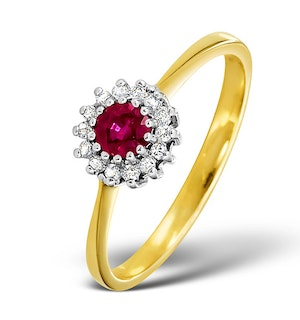 Ruby 3.5 x 3.5mm And Diamond 9K Gold Ring